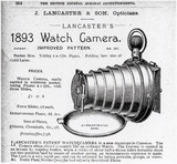 Advertisement for Lancaster's Watch Camera, 1893.