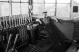 Signalman in a signal box on the Lambton Railway, 1967.