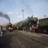Flying Scotsman at Shildon works, County Durham, 1975.