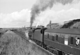Jubilee class locomotive and train at Shap, Cumbria, 1961.