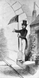 Early railway signalman with flag, late 1830's.