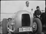 Front close up of streamlined Mercedes-Benz SSK racing car, 1932.