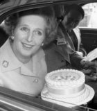 Margaret Thatcher and birthday cake, Blackpool, October 1977.
