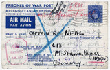 Air Mail prisoner of war letter card, 1944.