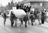 Anti-nuclear protest at USAAF Burtonwood, Merseyside, April 1984.