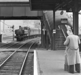 Train arriving at Yeovil Town Station, Somerset, June 1964.