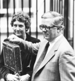 Geoffrey Howe with the famous red Budget box, 10 March 1981.