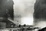 Firefighting after a German bombing raid, Liverpool, 1940s.