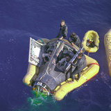 Splash-down in the Pacific Ocean, Gemini 8 space mission, 1966.