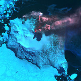 Eruption of Mount Belinda from space, South Sandwich Islands, c 2003.