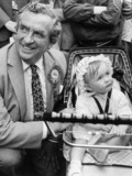 Dennis Healey campaigning in Wrexham, May 1983.