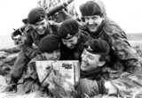 British soldiers with pin-up, Falkland Islands, December 1982.