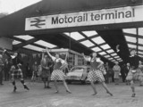 Scottish dance display at a Motorail terminal, c 1970s.