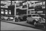 Auto-Union motor car stand at an exhibition, Paris, France, 1934.