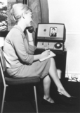 Woman talking over a videophone, 26 April 1969.