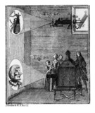 Magic lantern show, 1755. Illustration of a