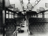Interior of an East Coast Joint Stock open Third Class carriage built in 1896.