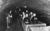 Boys riding a train to a lecture at the coal face, Thorncliffe Colliery, Sheffield, 1938.
