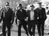 Arthur Scargill being arrested on a picket