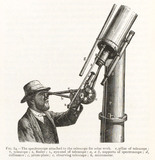 Engraving of a spectroscope attached to a telescope for solar work, 1874.