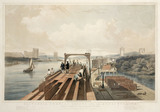 Britannia Tubular Bridge during its construction, Wales, May 1849.