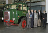 Five authors beside Foden truck, Science Museum, 2003.
