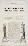 Advertisement for Thomas Walker's Patent Self-Feeding Stove, c 1854.