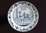 Tin glazed earthenware plate, English, 18th century.