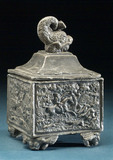 Cast lead tobacco jar, English, 1790-1860.