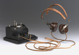 Brownie crystal radio receiver and pair of BTH headphones, mid 1920s.
