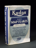 Box of 'Kudos' pure soap flakes by Boots Pure Drug Co Ltd, c 1950.