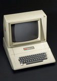 Apple II desktop computer and monitor, 1977.