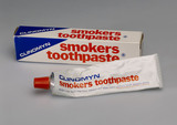 Tube of Clinomyn smokers toothpaste with box, 1971-1975.