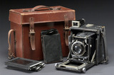 Graflex plate camera, carrying case and plate, c 1925.