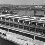 View of Ocean Terminal from quayside, Southampton Docks, 1950.