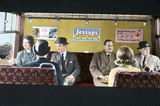 Commuters sitting in a British Rail rail coach, 1965.