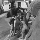 BTF film crew shooting in Priestman's yard, Hull, Kingston Upon Hull, 1949.