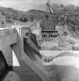 Dam and power station under construction at Pitlochry, 1951.