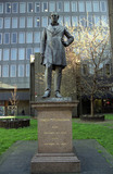 Robert Stephenson statue at Euston Station, London, 31 March 2004.