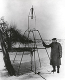Robert H Goddard at first flight of a liquid propellant rocket, 16 March 1926.