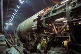 Boring machine in the Channel Tunnel, 1993.