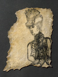 Human skin, tattooed with clothed female, probably French, 1850-1920.