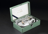Box containing three graded cupping glasses, Japanese, 1980-1990.