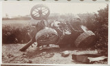 Overturned traction engine, c 1910.