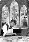 Stained glass window craftsman, USA, c 1915.