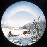 Lapland scene, hand-coloured magic lantern slide, 19th century.