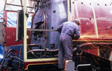 Working on the 'Duchess of Hamilton' steam locomotive, c 1980s.