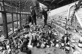 Clearing up after a Scotland football match, October 1977.