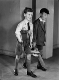 """Two boys woodworking, c 1948."""