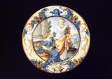 """Tin glazed earthenware plate, Italian, c 18th century."""